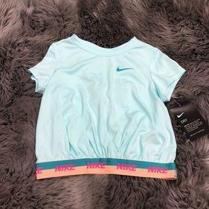 Nike | Girls' Cropped T-Shirt | Blue and Orange
